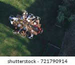 aerial view of friends toasting ... | Shutterstock . vector #721790914