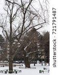 winter walk in the park along... | Shutterstock . vector #721791487