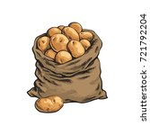 burlap sack full of ripe potato ... | Shutterstock .eps vector #721792204