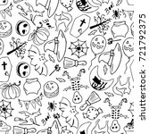 set of halloween vector... | Shutterstock .eps vector #721792375