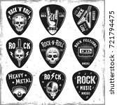 guitar picks or mediators set... | Shutterstock .eps vector #721794475