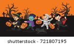 happy halloween. children... | Shutterstock .eps vector #721807195