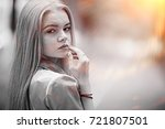 long blond hair  young blonde... | Shutterstock . vector #721807501