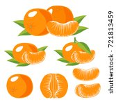 set of isolated tangerines with ... | Shutterstock .eps vector #721813459