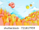 the hot air balloon with... | Shutterstock .eps vector #721817959