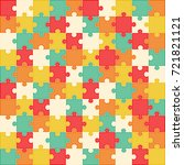 colorful puzzle background  100 ... | Shutterstock .eps vector #721821121
