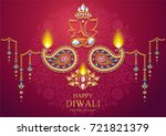 happy diwali festival card with ... | Shutterstock .eps vector #721821379