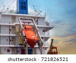 Small photo of Life boat station at afterward/stern of cargo vessel.