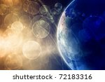 Abstract fantastic illustration of planet Earth in dark space - stock photo