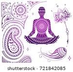 set of yoga theme illustrations ... | Shutterstock .eps vector #721842085