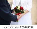 wedding couple holding hands... | Shutterstock . vector #721843354