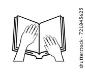 black outline open book  ... | Shutterstock .eps vector #721845625