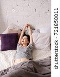 joyful woman stretching arms... | Shutterstock . vector #721850011