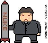 vector pixel art man hold nuke...