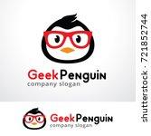 geek penguin logo template... | Shutterstock .eps vector #721852744