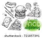 set of varied food. burger ... | Shutterstock .eps vector #721857391