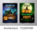halloween party flyer with... | Shutterstock .eps vector #721859389