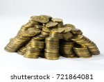 Small photo of Group of cents Quetzal, Guatemala, towers and disorder, devalued money. Central America.