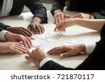 close up of multiethnic team... | Shutterstock . vector #721870117