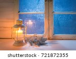 blue window at night and... | Shutterstock . vector #721872355
