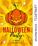 halloween party flyer template. ... | Shutterstock .eps vector #721878697