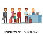 people queue in airport at... | Shutterstock .eps vector #721880461