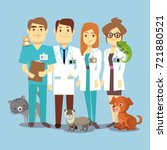 flat veterinarians staff with... | Shutterstock .eps vector #721880521