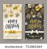 christmas greeting card   brush ... | Shutterstock .eps vector #721881064