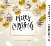 christmas greeting card  ... | Shutterstock .eps vector #721881121