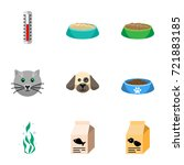 flat icon animal set of cat ... | Shutterstock .eps vector #721883185