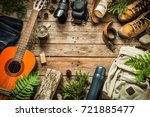 camping or adventure trip... | Shutterstock . vector #721885477