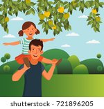 dad and his daughter  having... | Shutterstock .eps vector #721896205