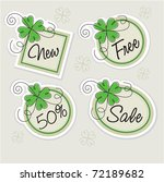 label set with clovers | Shutterstock .eps vector #72189682