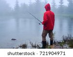 side view of man with fishing...   Shutterstock . vector #721904971