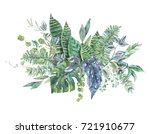 watercolor bouquet of green... | Shutterstock . vector #721910677