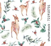 christmas deer seamless pattern.... | Shutterstock . vector #721910731