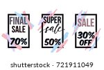 vector set of sale posters with ... | Shutterstock .eps vector #721911049