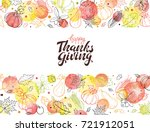 happy thanksgiving day. hand... | Shutterstock .eps vector #721912051