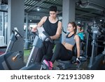 young adult woman working out... | Shutterstock . vector #721913089