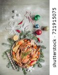 whole roasted turkey with... | Shutterstock . vector #721915075