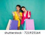 happy multiethnic girlfriends... | Shutterstock . vector #721925164