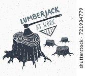 lumberjack at work vintage... | Shutterstock .eps vector #721934779