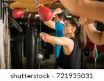 pretty young woman training... | Shutterstock . vector #721935031