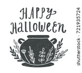 happy halloween. witches... | Shutterstock .eps vector #721935724