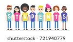 international students wearing... | Shutterstock .eps vector #721940779