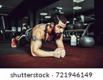 plank it. confident muscled... | Shutterstock . vector #721946149