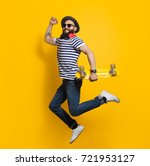 side view of stylish hipster... | Shutterstock . vector #721953127