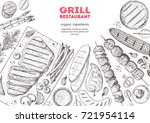 grilled meat and vegetables top ... | Shutterstock .eps vector #721954114