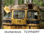 Rusty Bus In The Woods