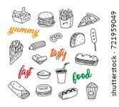 set of hand drawn doodle fast... | Shutterstock .eps vector #721959049